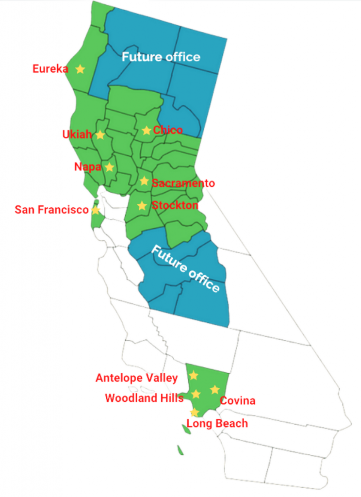 map of California regions where we provide services